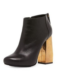 Metallic-Heel Leather Ankle Boot   Metallic-Heel Leather Ankle Boot