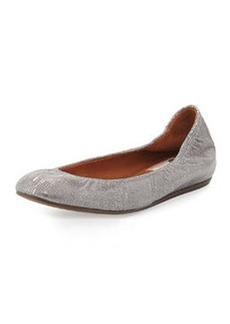Metallic Lizard-Embossed Ballet Flat, Silver   Metallic Lizard-Embossed Ballet Flat, Silver
