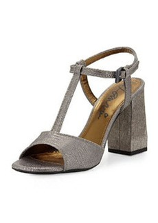 Metallic Printed Leather Sandal, Silver   Metallic Printed Leather Sandal, Silver