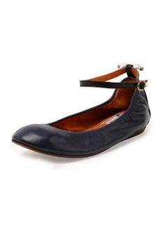 Pearly-Detail Ankle-Wrap Flat, Dark Blue   Pearly-Detail Ankle-Wrap Flat, Dark Blue