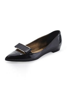 Point-Toe Buckle Ballerina Flat, Black   Point-Toe Buckle Ballerina Flat, Black