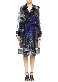 Printed Silk Organza Trench Coat, Navy   Printed Silk Organza Trench Coat, Navy