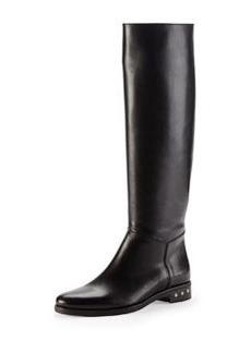 Screw-Heel Leather Knee Boot, Black   Screw-Heel Leather Knee Boot, Black