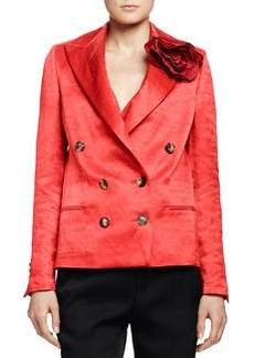 Silk Jacket with Rosette, Poppy Red   Silk Jacket with Rosette, Poppy Red