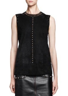 Sleeveless Studded Suede Top   Sleeveless Studded Suede Top