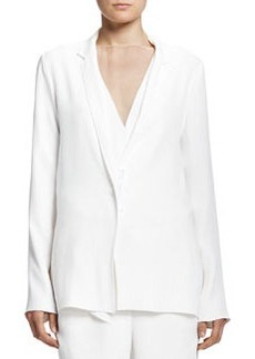 Soft Jacket with Grosgrain Snap, White   Soft Jacket with Grosgrain Snap, White