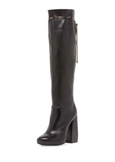 Stacked-Heel Knee Boot with Chain, Black   Stacked-Heel Knee Boot with Chain, Black