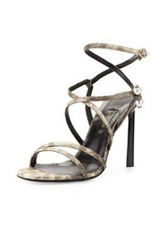 Strappy Sandal with Pierced-Pearl Detail   Strappy Sandal with Pierced-Pearl Detail