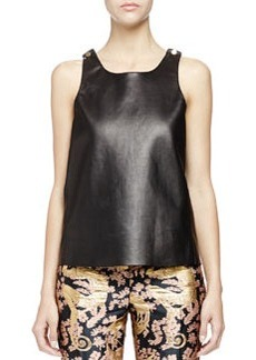 Studded Leather Tank Top, Black   Studded Leather Tank Top, Black