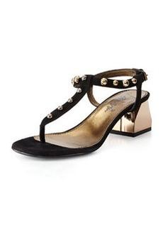 Studded T-Strap Sandal, Black   Studded T-Strap Sandal, Black