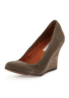 Suede Ballerina Wedge Pump, Gray   Suede Ballerina Wedge Pump, Gray