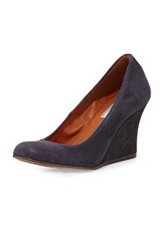 Suede Ballerina Wedge Pump, Midnight Blue   Suede Ballerina Wedge Pump, Midnight Blue