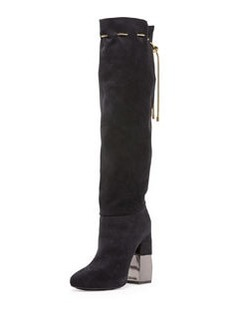 Suede Chain-Strap Knee Boot, Dark Blue   Suede Chain-Strap Knee Boot, Dark Blue