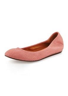 Suede Python-Print Ballerina Flat, Pink   Suede Python-Print Ballerina Flat, Pink