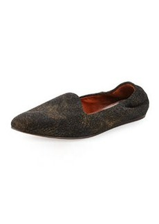 Textured Leather Slipper, Black   Textured Leather Slipper, Black