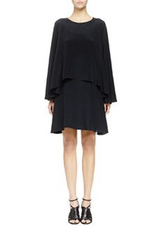 Two-Tier Washed Twill Long-Sleeve Dress   Two-Tier Washed Twill Long-Sleeve Dress
