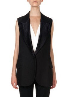 Woven Single-Button Vest   Woven Single-Button Vest