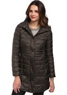 Larry Levine 3/4 Length Down Filled Packable Coat w/ Slimming Waist Detail
