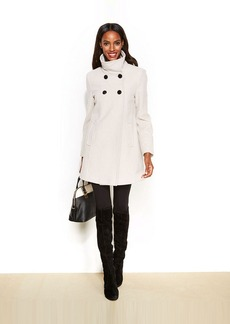 Larry Levine Petite Double-Breasted Wool-Blend Trapeze Coat