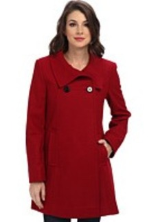 Larry Levine Double Breasted Wool Coat w/ Stand Collar