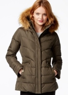 Larry Levine Faux-Fur-Hood Down Puffer Jacket