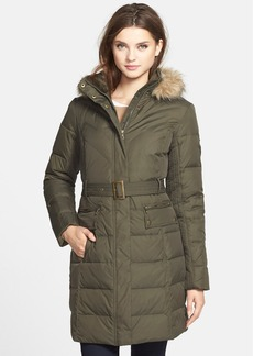 Larry Levine Faux Fur Trim Belted Hooded Down & Feather Fill Coat