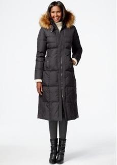 Larry Levine Faux-Fur-Trim Down Maxi Coat