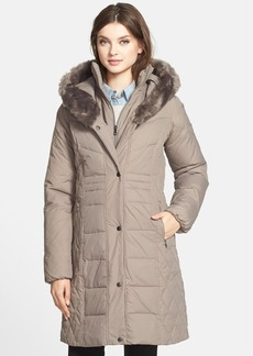 Larry Levine Faux Fur Trim Hooded Down & Feather Fill Walking Coat
