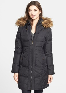 Larry Levine Faux Fur Trim Quilted Coat with Removable Hood