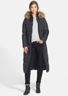 Larry Levine Long Hooded Down & Feather Fill Coat with Faux Fur Trim