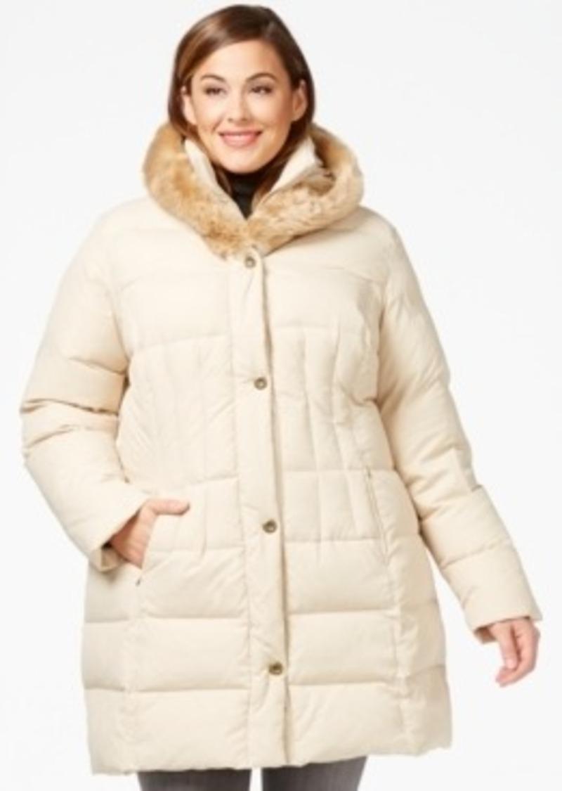 Larry Levine Larry Levine Plus Size Faux Fur Trim Quilted