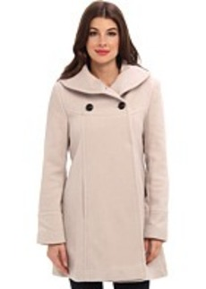 Larry Levine Timeless Shawl Neck Double Breasted Wool Coat