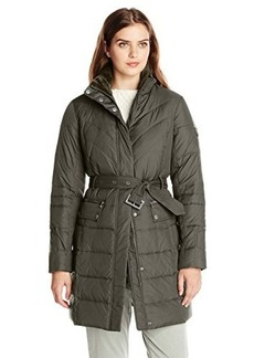 Larry Levine Women's Flattering Long Down-Filled Coat with Faux-Fur Trim Hood