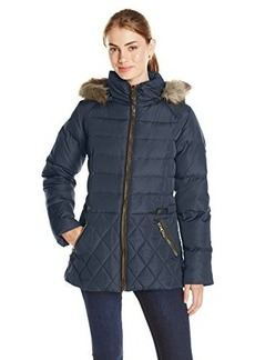 Larry Levine Women's Down Jacket with Faux Fur-Trimmed Hood