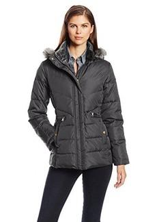 Larry Levine Women's Down Jacket with Removable Faux Fur Trim Hood