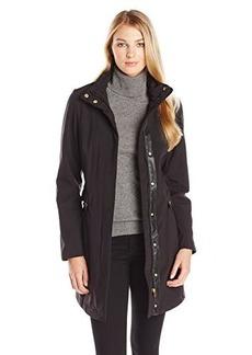 Larry Levine Women's Fleece Lined Soft Shell Rain Coat