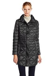 Larry Levine Women's Geo-Quilted Packable Down Coat