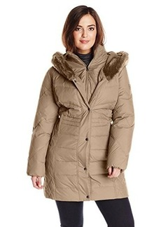 Larry Levine Women's Plus-Size Hooded 3/4 Length Down Coat