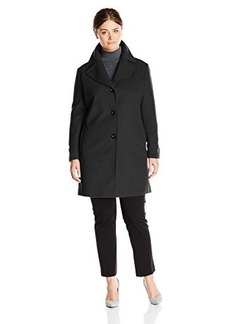 Larry Levine Women's Plus-Size Single-Breasted Wool Coat