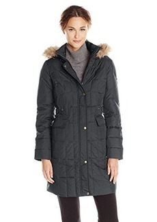 Larry Levine Women's Quilted Down Coat with Detachable Faux Fur-Trim Hood