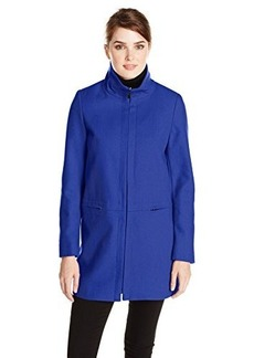 Larry Levine Women's Stand Collar Zip Front Wool Coat