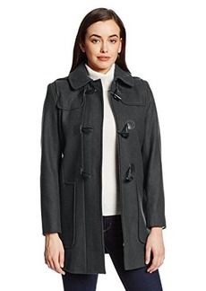 Larry Levine Women's Wool-Blend Duffle Coat with Toggle Closures