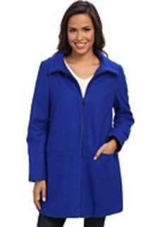 Larry Levine Zip Front Wool Coat