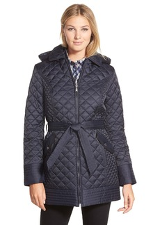 Laundry by Design Belted Hooded Quilted Coat