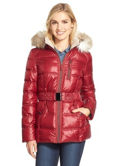 Laundry By Design Belted Quilted Jacket with Faux Fur