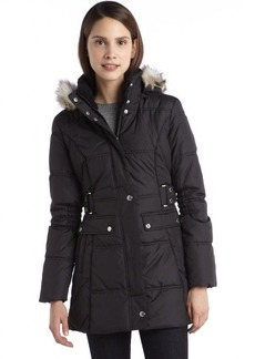 Laundry by Design black quilted down filled faux fur trim hooded coat