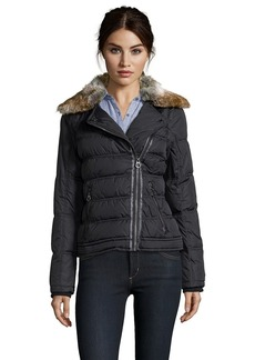 Laundry by Design black quilted faux fur collar asymmetrical zip ...