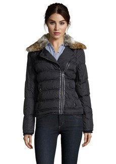 Laundry by Design black quilted faux fur collar asymmetrical zip jacket