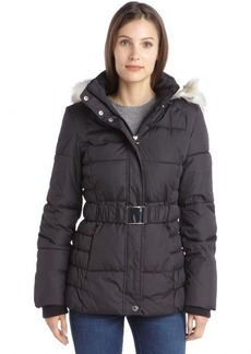 Laundry by Design black quilted faux fur hooded belted puffer coat