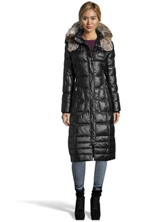 Laundry by Design black quilted faux fur trim hood...